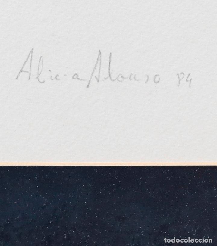 Arte: Alicia Alonso, piedras, 1984, dibujo, firmado, con marco. 60x45cm - Foto 4 - 217198073