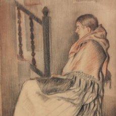 Arte: JUAN SOLER PUIG (1906 - 1984) DIBUJO A CARBON Y LAPICES DE COLOR. IBICENCA. Lote 217757692