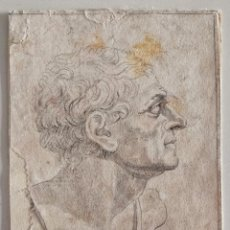 Arte: MARAVILLOSO DIBUJO ORIGINAL DEL SIGLO XVIII SOBRE PAPEL VERJURADO, RETRATO GAIUS IULIUS CAESAR. Lote 217826853