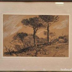 Arte: PAISAJE CON ARBOLES. DIBUJO AL GRAFITO SOBRE PAPEL. JOSEP BERGA BOADA. SIGLO XX.. Lote 217875203
