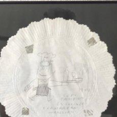 Arte: DIBUJO A TINTA SOBRE SERVILLETA DE JAVIER MARISCAL. COBI 1989.. Lote 218026127