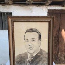 Arte: RETRATO CABALLERO A CARBONCILLO DEL PINTOR LUIS IBAÑEZ 29 DE MAYO DE 1973. Lote 218057332