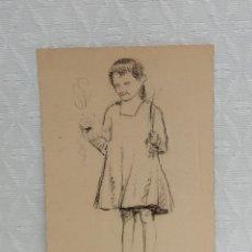 Arte: ANÓNIMO. DIBUJO A CARBÓN. RETRATO DE UNA NIÑA. Lote 218091513