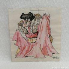 Arte: SERAFÍN ROJO CAAMAÑO (MADRID, 1925 - 2003) TÉCNICA MIXTA. CARICATURA DE UN TORERO. Lote 218095112
