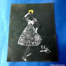 Arte: DIBUJO ORIGINAL DE MARIBEL FOYÉ FIRMADO Y DATADO AÑO 1957. Lote 218186517