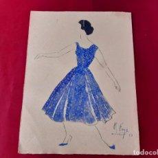 Arte: DIBUJO ORIGINAL DE MARIBEL FOYÉ FIRMADO Y DATADO AÑO 1957. Lote 218186833