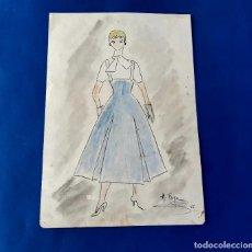 Arte: DIBUJO ORIGINAL DE MARIBEL FOYÉ FIRMADO Y DATADO AÑO 1956. Lote 218186952