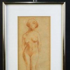 Arte: SANGUINA SOBRE PAPEL DESNUDO FEMENINO FIRMADO I.CAÑAS. Lote 218196520
