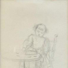 Arte: RICARD MARTÍ AGUILÓ (1868-1936) DIBUJO A LÁPIZ NIÑA PEQUEÑA FIRMADO. Lote 218198036