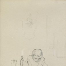 Arte: RICARD MARTÍ AGUILÓ (1868-1936) DIBUJO A LÁPIZ NIÑO PEQUEÑO COMIENDO FIRMADO. Lote 218198421