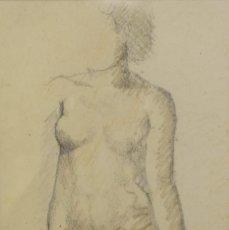 Arte: LÁPIZ Y CERAS SOBRE PAPEL DESNUDO FEMENINO FIRMA ILEGIBLE. Lote 218198867