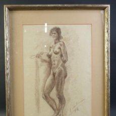 Arte: DIBUJO CERAS SOBRE PAPEL DESNUDO FEMENINO FIRMA ILEGIBLE. Lote 218199713