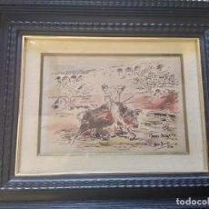 Arte: ROBERTO DOMINGO (1883- 1956 ).PLUMILLA ORIGINAL TAURINA A COLOR .. Lote 218220826