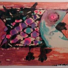 Arte: DIBUJO DE UNA SARDINA REALIZADO EN TINTAS DE DIVERSOS COLORES POR RAFAEL AZCONA EN 1968.. Lote 218258271