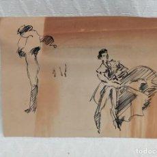 Arte: ANONIMO. DIBUJO A TINTA. TOREROS. Lote 218358688
