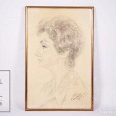 Arte: DIBUJO AL CARBONCILLO DE JOSEP CERDANS - RETRATO DE MUJER - AGOSTO 1969, PLAYA DE ARO. Lote 218364618