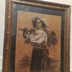 Arte: ANTIGUA PINTURA.CHICA VENDIMIANDO. PINTADO A TIZA Y AL CARBONCILLO.DIBUJO ANTIGUO.FIRMADO. AÑO 1904.. Lote 218391185