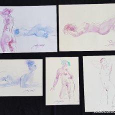 Arte: LOTE COLECCION DE 5 DIBUJOS ORIGINALES DE EMILIA CASTAÑEDA DE 30X21CM A 30X42 CM.. Lote 218398545