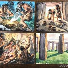 Arte: LOTE DE 4 DIBUJOS ORIGINALES PREHISTORIA EN GOUACHE REALIZADOS POR COSTA SALANOVA. AÑOS 50. Lote 218601735