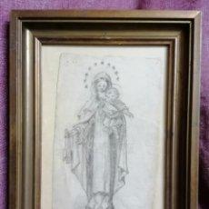 Arte: DIBUJO VIRGEN CON NIÑO J. OBIOLS. Lote 218840568