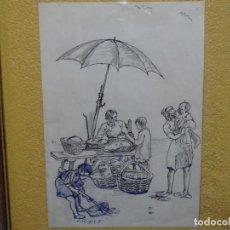Arte: DIBUJO DE JOSEP RIGOL FORNAGUERA.TINTA LÁPIZ Y BOLÍGRAFO.. Lote 218848067
