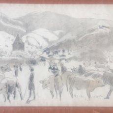 Arte: VACAS PASTANDO DIBUJO TECNICA MIXTA. FIRMADO 1932.. Lote 219169455