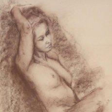 Arte: ANONIMO DE MEDIADOS DEL SIGLO XX. DIBUJO A PASTEL. DESNUDO FEMENINO. Lote 219183537