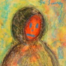 Arte: JOSE Mª DE SUCRE I GRAU (1886 - 1969) DIBUJO A CERAS SOBRE CARTON. PERSONAJE. Lote 219183993