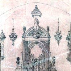 Arte: PROYECTO DE RETABLO BARROCO. DIBUJO A TINTA. DEL ESTUDIO RIUS Y MASSAGUÉ. ESPAÑA. 1940. Lote 219187088
