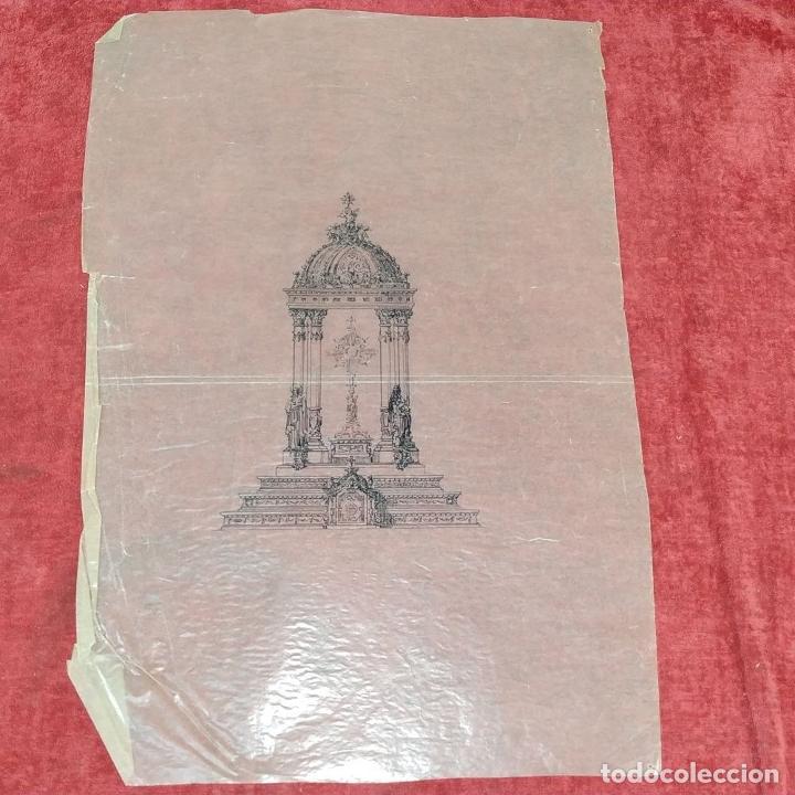 Arte: PROYECTO PARA SAGRARIO MONUMENTAL. DIBUJO A TINTA. ESTUDIO RIUS Y MASSAGUÉ. ESPAÑA. CIRCA 1910 - Foto 2 - 219276718
