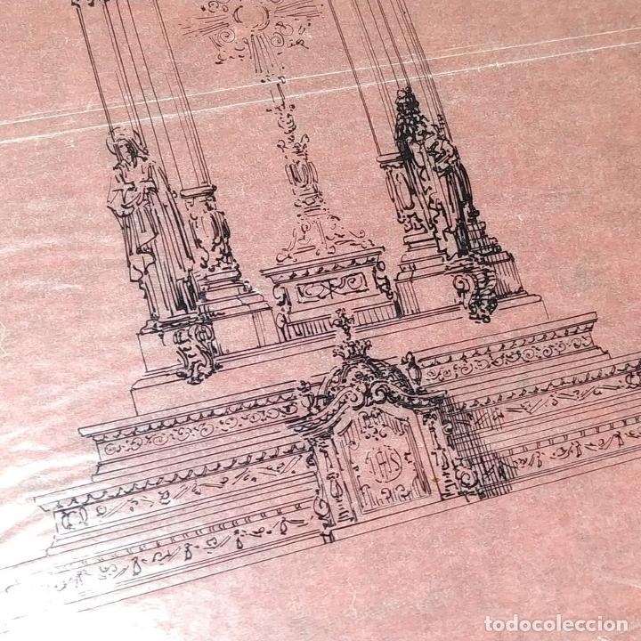 Arte: PROYECTO PARA SAGRARIO MONUMENTAL. DIBUJO A TINTA. ESTUDIO RIUS Y MASSAGUÉ. ESPAÑA. CIRCA 1910 - Foto 5 - 219276718