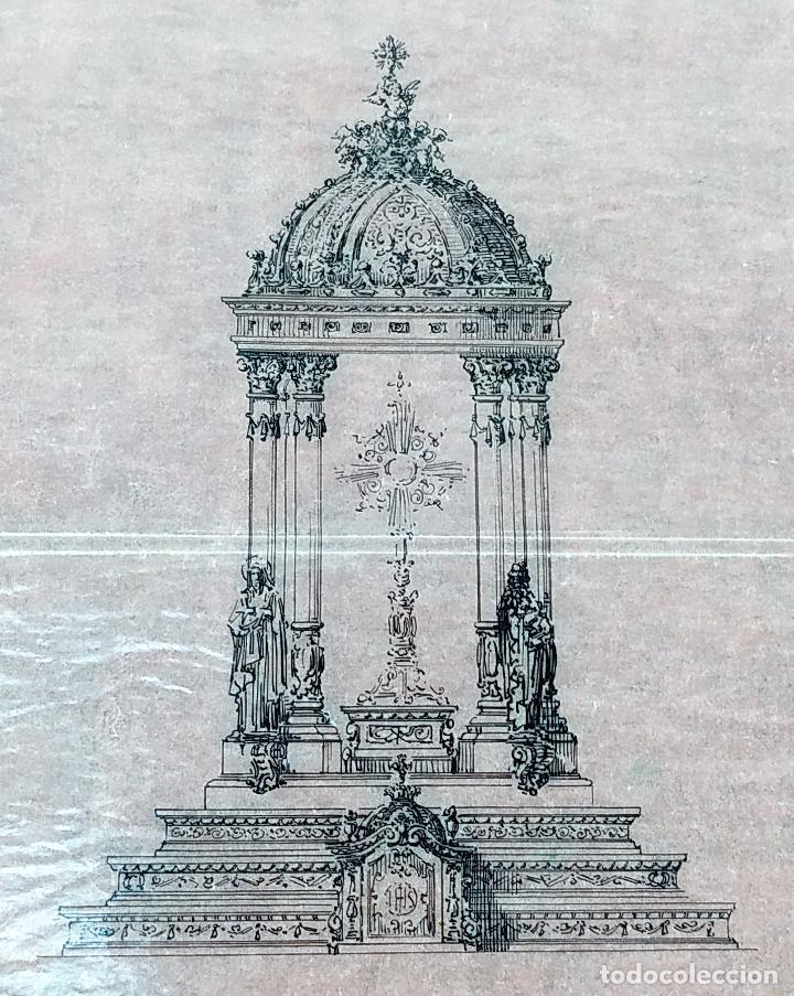 PROYECTO PARA SAGRARIO MONUMENTAL. DIBUJO A TINTA. ESTUDIO RIUS Y MASSAGUÉ. ESPAÑA. CIRCA 1910 (Arte - Dibujos - Contemporáneos siglo XX)