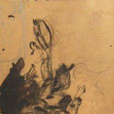Arte: EMILIO CASALS. MUJER CON PANDERETA. TINTA Y LAPIZ. FIRMADO. 21,3 X 11,5 CM. Lote 219356481