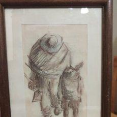 Arte: DIBUJO DEL PINTOR JUAN ORTUÑO, ORIGINAL FIRMADO POR ÉL .. Lote 219664856