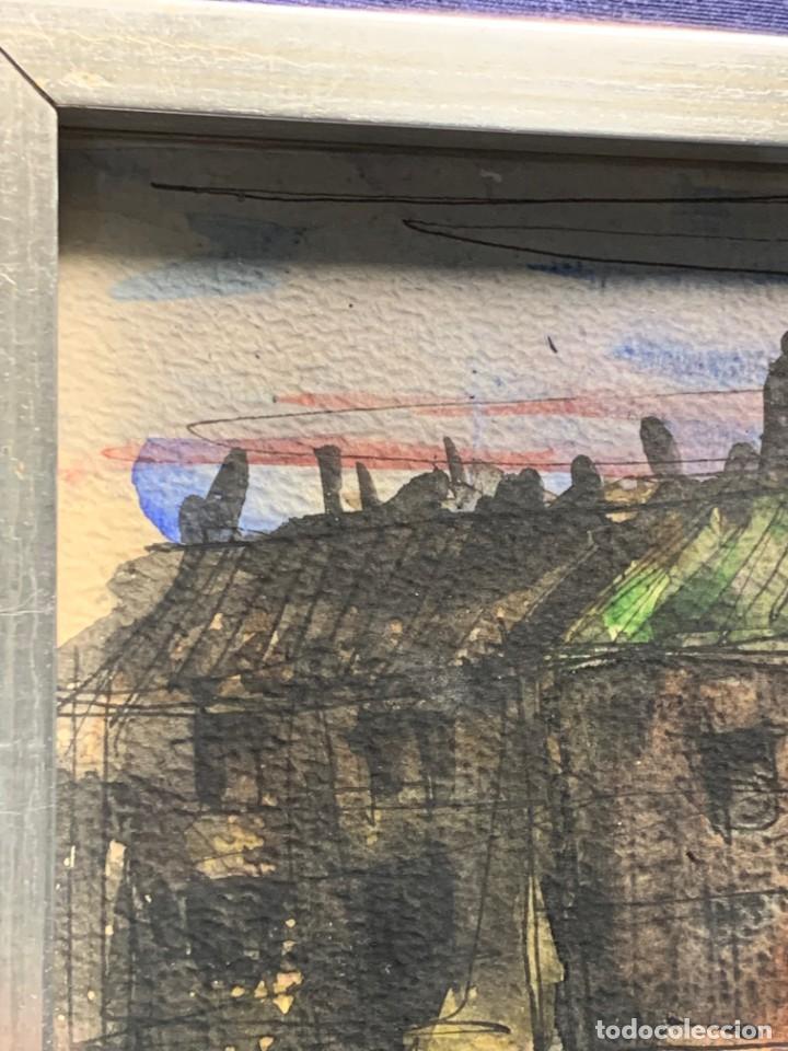 Arte: dibujo acuarela y tinta sobre papel firma montis 76 casas edificios tejados 58x50cms - Foto 2 - 219638771