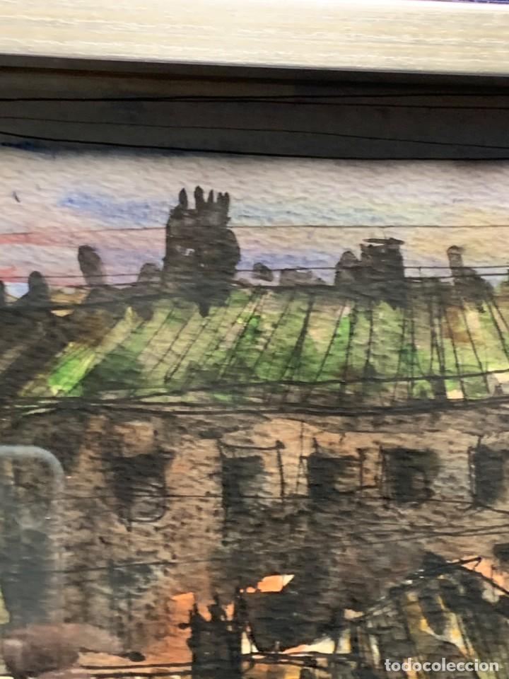 Arte: dibujo acuarela y tinta sobre papel firma montis 76 casas edificios tejados 58x50cms - Foto 3 - 219638771
