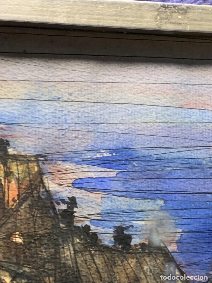 Arte: dibujo acuarela y tinta sobre papel firma montis 76 casas edificios tejados 58x50cms - Foto 4 - 219638771