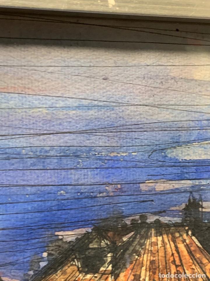 Arte: dibujo acuarela y tinta sobre papel firma montis 76 casas edificios tejados 58x50cms - Foto 5 - 219638771
