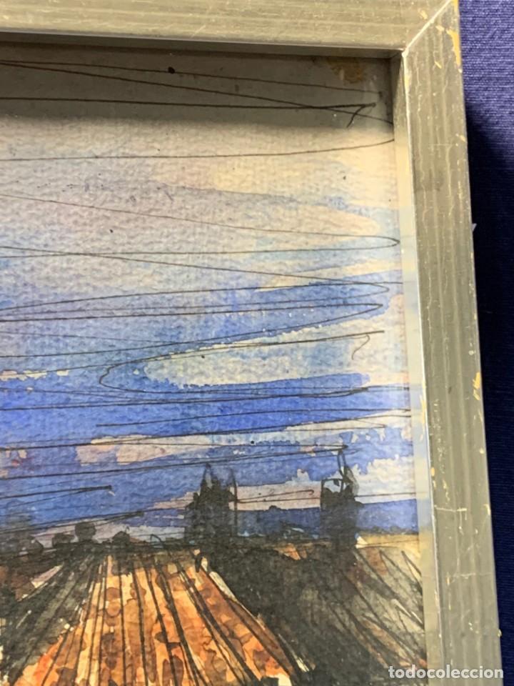 Arte: dibujo acuarela y tinta sobre papel firma montis 76 casas edificios tejados 58x50cms - Foto 6 - 219638771