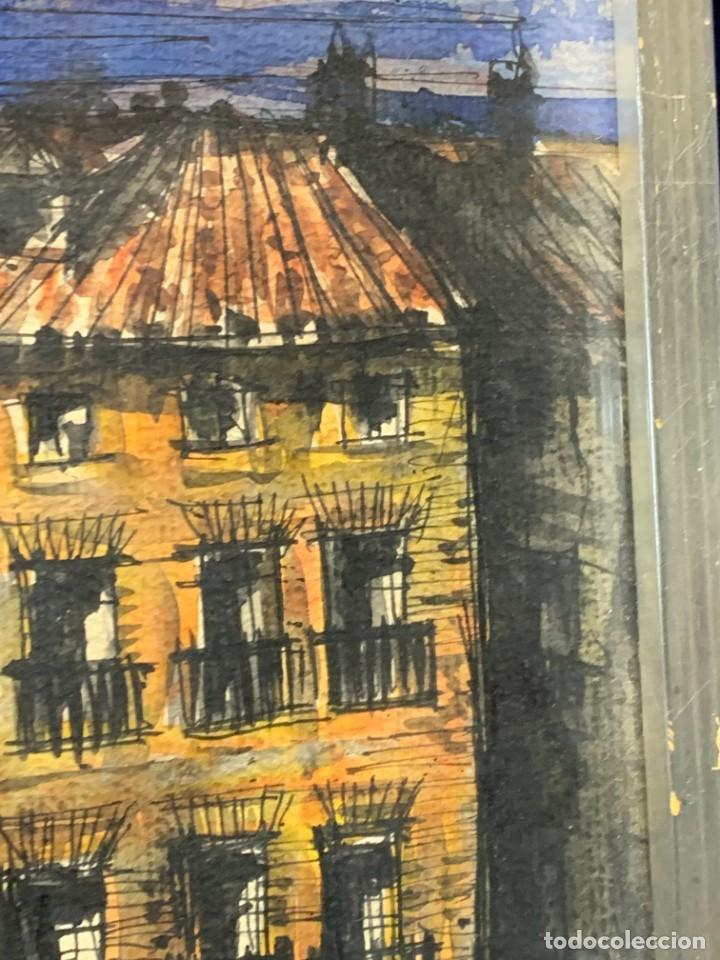 Arte: dibujo acuarela y tinta sobre papel firma montis 76 casas edificios tejados 58x50cms - Foto 7 - 219638771