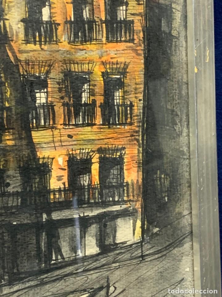 Arte: dibujo acuarela y tinta sobre papel firma montis 76 casas edificios tejados 58x50cms - Foto 8 - 219638771