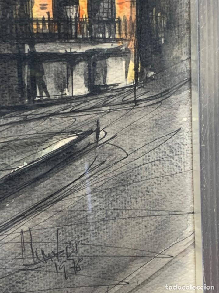 Arte: dibujo acuarela y tinta sobre papel firma montis 76 casas edificios tejados 58x50cms - Foto 9 - 219638771