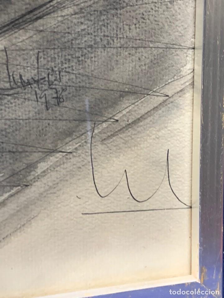 Arte: dibujo acuarela y tinta sobre papel firma montis 76 casas edificios tejados 58x50cms - Foto 10 - 219638771