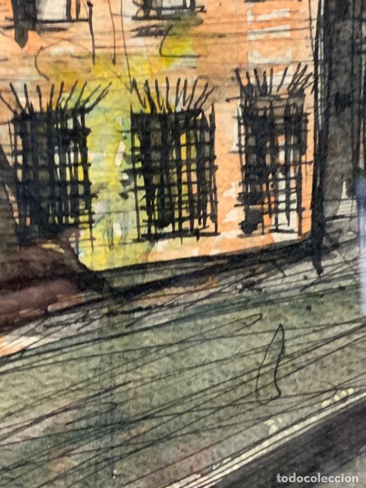 Arte: dibujo acuarela y tinta sobre papel firma montis 76 casas edificios tejados 58x50cms - Foto 13 - 219638771