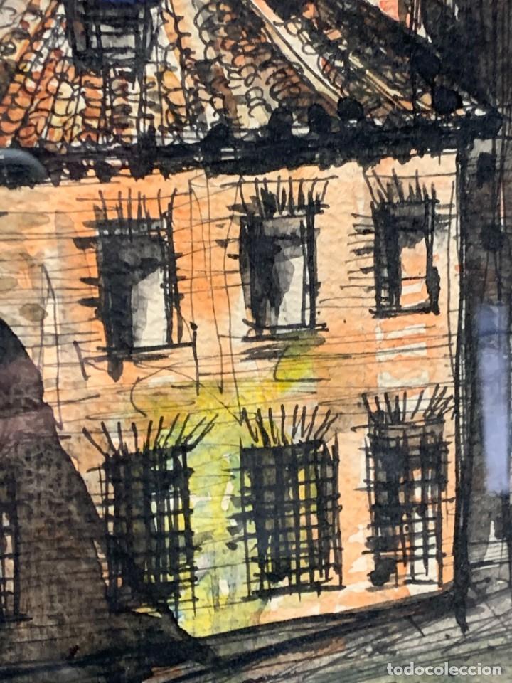 Arte: dibujo acuarela y tinta sobre papel firma montis 76 casas edificios tejados 58x50cms - Foto 14 - 219638771