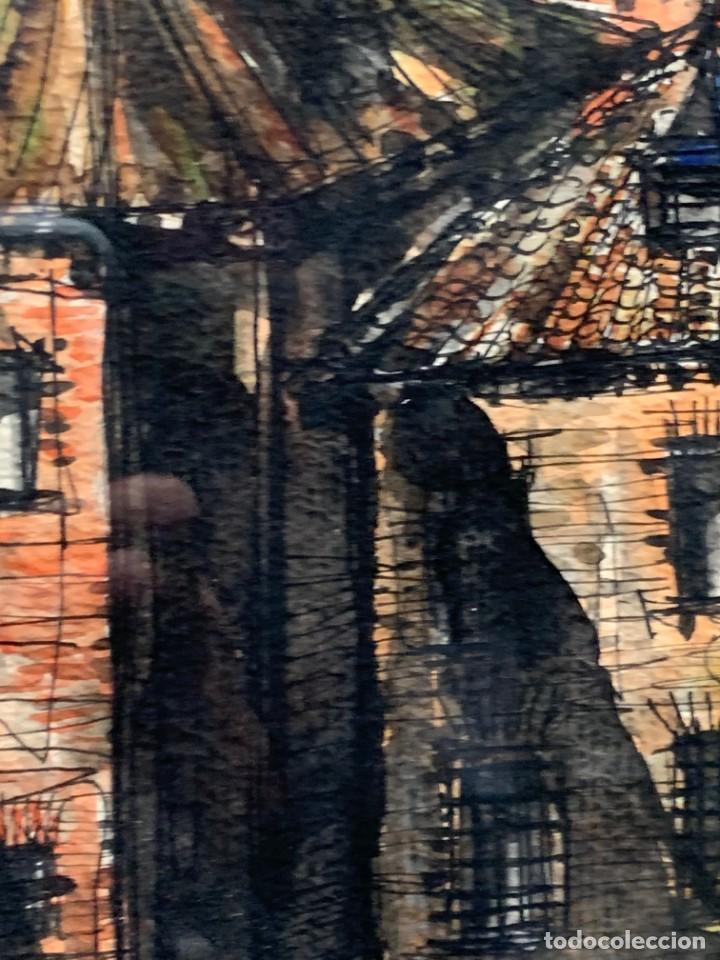 Arte: dibujo acuarela y tinta sobre papel firma montis 76 casas edificios tejados 58x50cms - Foto 15 - 219638771