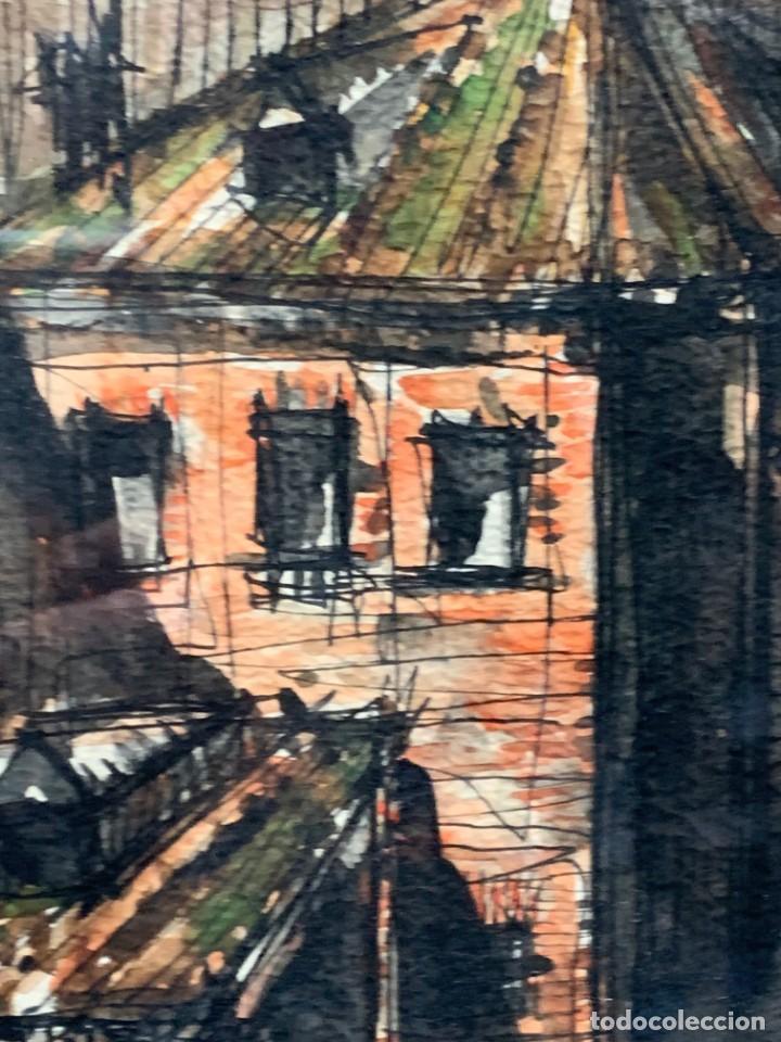 Arte: dibujo acuarela y tinta sobre papel firma montis 76 casas edificios tejados 58x50cms - Foto 16 - 219638771