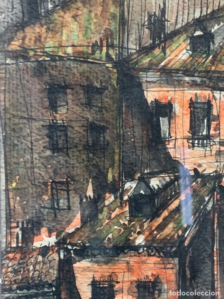 Arte: dibujo acuarela y tinta sobre papel firma montis 76 casas edificios tejados 58x50cms - Foto 17 - 219638771