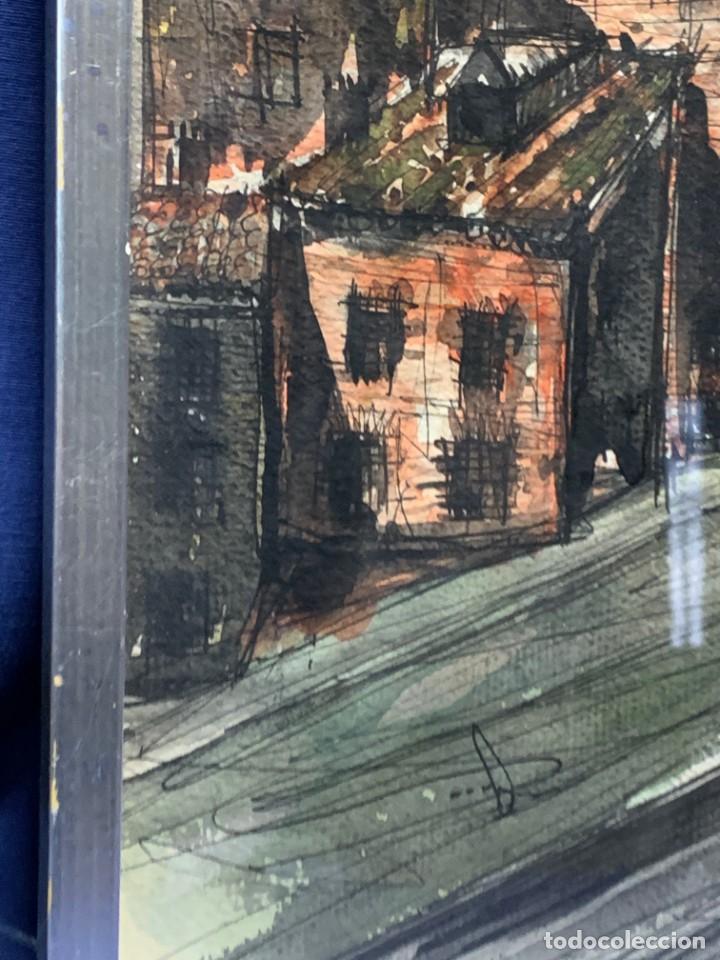 Arte: dibujo acuarela y tinta sobre papel firma montis 76 casas edificios tejados 58x50cms - Foto 18 - 219638771