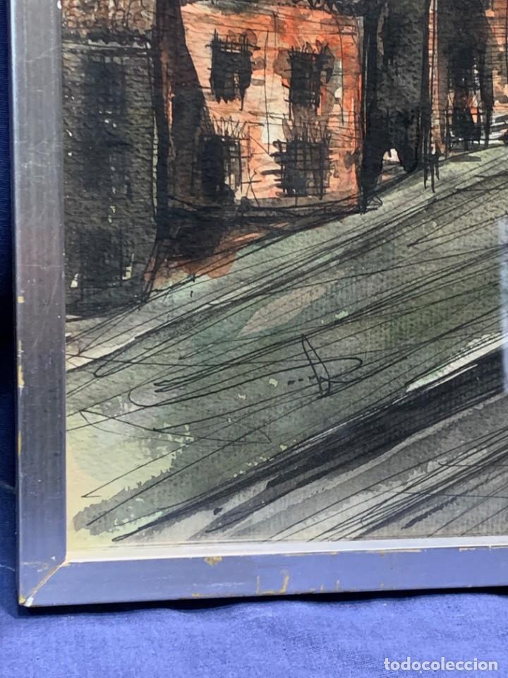 Arte: dibujo acuarela y tinta sobre papel firma montis 76 casas edificios tejados 58x50cms - Foto 19 - 219638771